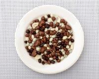 碗葡萄干坚果盖了在果子另外大小里面的巧克力糖桌盘圆的白色干果 免版税图库摄影