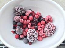 碗被分类的新鲜的结冰的莓果 免版税库存照片