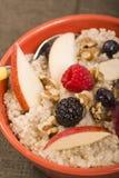碗钢切了燕麦供食用新鲜水果和蜂蜜 图库摄影