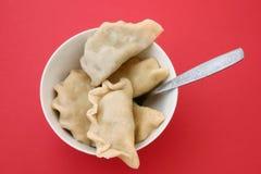 碗饺子波兰红色传统 免版税库存照片