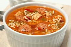 碗Cajun辣鸡和香肠浓汤 免版税库存照片