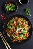碗soba面条用牛肉和菜 亚洲食物 免版税库存照片