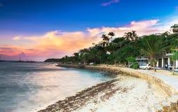 碧姬・芭杜沿海岸区日落视图在Buzios,里约热内卢 库存图片