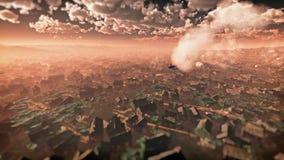 碰撞在沙漠城市的飞机天线 库存照片