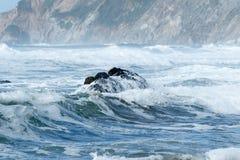 碰撞在海滩的波浪 免版税库存图片