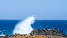 碰撞在石头,阿鲁巴的波浪 Arikok国家公园 免版税图库摄影