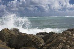 碰撞在防波堤南入口公园的海浪 库存照片
