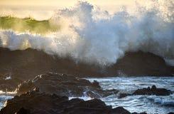 碰撞在从海洋的接踵而来的早晨浪潮的岩石的波浪 免版税库存图片