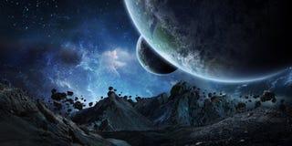 碰撞地球3D翻译元素的硕大小行星  库存例证