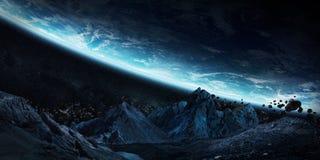 碰撞地球3D翻译元素的硕大小行星  皇族释放例证