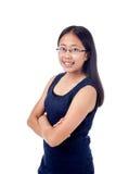 碰撞姿势的括号的亚裔女孩 免版税库存图片