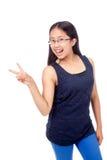 碰撞姿势的括号的亚裔女孩 库存照片