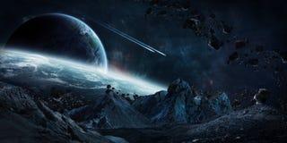 碰撞3D此的翻译元素的硕大小行星 库存例证