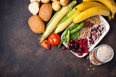 碳水化合物的健康产品来源 免版税库存照片