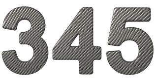 碳纤维字体3 4 5个数字 免版税库存照片