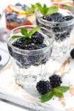 碳酸化合的饮料用莓果,垂直 库存照片