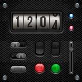 碳UI被设置的应用软件控制 开关,瘤,按钮,灯,容量,调平器,柜台 免版税图库摄影