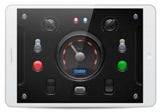 碳UI被设置的应用软件控制 白色片剂垫 瘤,开关,按钮,灯, Speedometr 库存照片