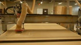 碾碎在木材加工机器的Figured 在空白的工业碾碎的雕刻机裁减样式门的 影视素材
