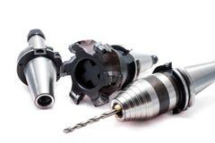碾碎的工具/设备有持有人的CNC机器的 免版税库存图片