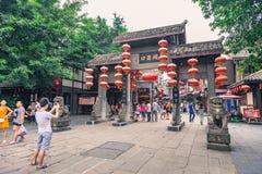 磁器口古老shophouses城市在重庆,中国 免版税库存图片
