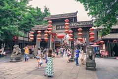 磁器口古老shophouses城市在重庆,中国 库存照片
