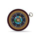 磁性便携式的指南针的传染媒介平的例证 免版税库存照片