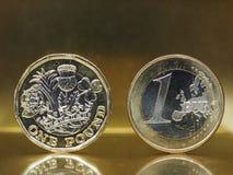 1磅和1枚欧洲硬币在金属背景 免版税库存图片