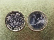 1磅和1枚欧洲硬币在金属背景 库存照片