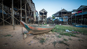 磅士卑Khleang渔夫村庄Tonle Sap湖的,柬埔寨 免版税库存图片
