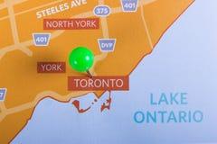 磨丝器与安大略湖地图的多伦多地区 免版税库存图片
