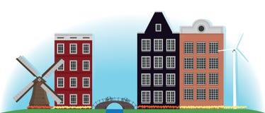 磨房、大厦和桥梁在荷兰 免版税库存照片
