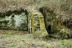 磨房废墟雕刻了入岩石 图库摄影