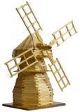 磨房的一个木模型 免版税库存照片