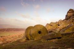 磨石,高峰区,德贝郡,英国,英国 免版税库存照片