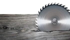 磨蚀刀片圆的剪切盘金属锯工作 免版税库存图片