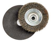 磨蚀圆盘和导线轮子 免版税库存照片