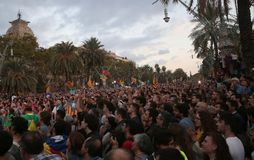 示威者在巴塞罗那 免版税库存照片