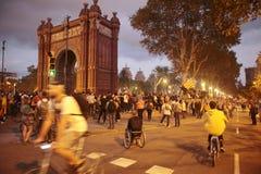 示威者在巴塞罗那 库存照片