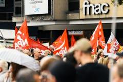 示威者在抗议aginst Macron法律的法国 库存照片
