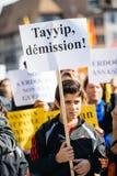 示威者抗议反对土耳其总统polic的埃尔多安 免版税库存照片