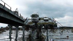 默示录海视图 被毁坏的桥梁 末日审判概念 超级现实4K动画 皇族释放例证