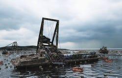 默示录海视图 被毁坏的桥梁 末日审判概念 3d翻译 免版税库存图片