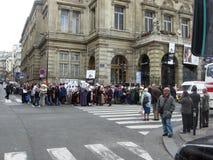 示范在巴黎在2007年10月以红十字会法国欧洲的出现 库存图片