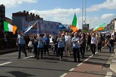 示范在都伯林(爱尔兰) 21的 03 2015年 免版税库存照片
