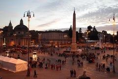 示范在Piazza del Popolo,罗马 库存图片
