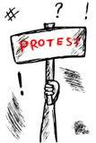 示范或抗议的概略例证 库存例证