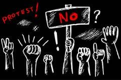 示范或抗议的黑白概略例证 库存例证