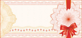 礼券的扭索状装饰背景 免版税库存照片