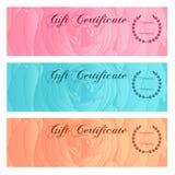 礼券,证件,优惠券,与花卉玫瑰色剪影(花纹花样)的奖励/礼品券集合模板 背景设计 库存图片